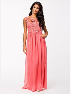 Fashion Hollow Out Lace Maxi Dress