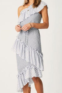 Fashion One Shoulder Multi Stripe Flouncing Dot Maxi Dress