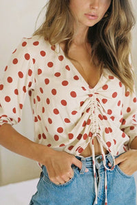 Fashion Blinding Chiffon Dot V Collar Shirt - lolabuy