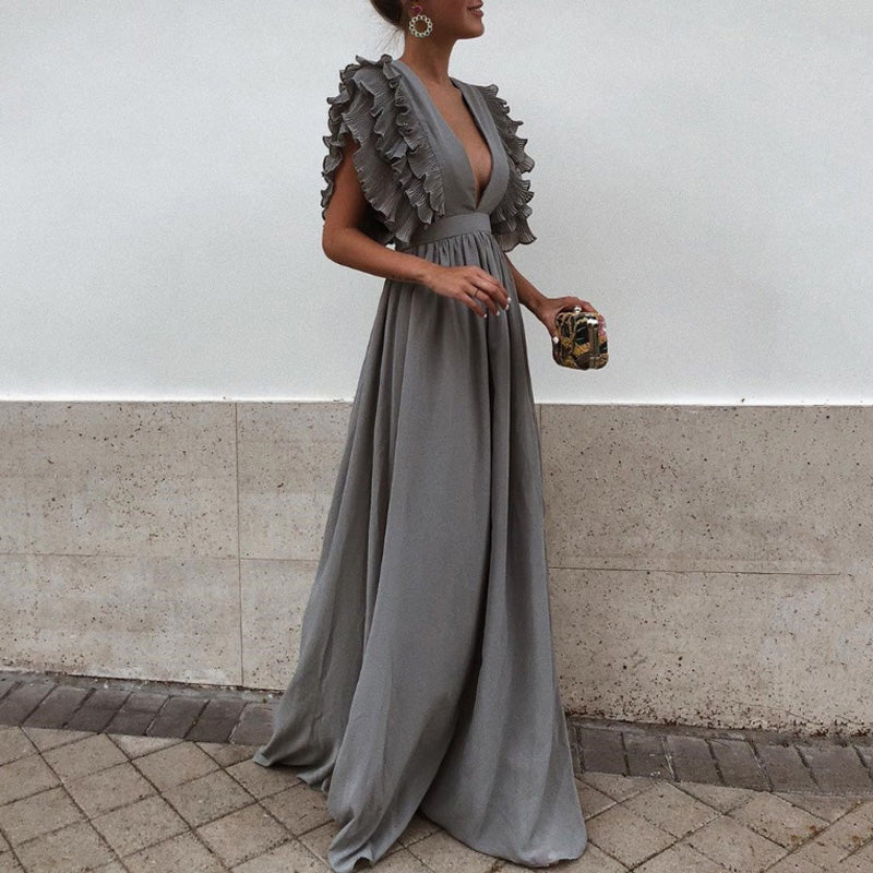 Sexy Gray V Neck Short Sleeves Maxi Dress - lolabuy