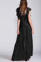 Fashion V Collar Floral Border Lace Slit Evening Dress