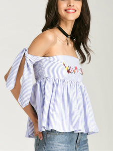 Fashion Off Shoulder Stripe Embroidery Shirt