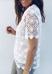 Fashion V Collar Lace Blouse
