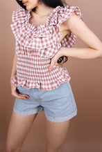 Fashion Grid Off Shoulder Short Sleeve T-Shirts