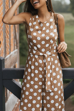 Sexy Polka Dot Sleeveless Wide Leg Jumpsuit - lolabuy