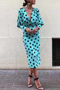 Dots Print Plunge Lantern Sleeve Bodycon Dress - lolabuy