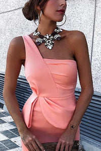 Sexy Pink One Shoulder Sleeveless Bodycon Dress - lolabuy