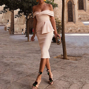 Sexy Apricot Off Shoulder Short Sleeves Bodycon Dress - lolabuy