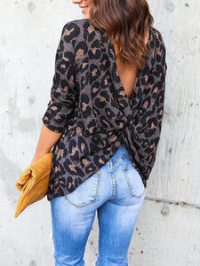 Crossed Halter Long Sleeve Leopard T-Shirt - lolabuy