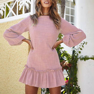 Casual Pure Color Round Collar Long Sleeve Pleated Vacation Dress - lolabuy