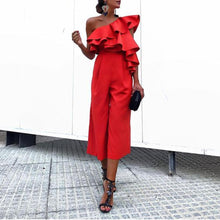 Fall Chic One-Shouldered High-Waist  Jumpsuit - lolabuy