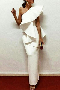 White Chic One-Shouldered Bodycon Dress - lolabuy