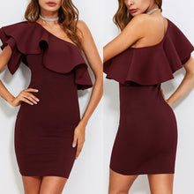 Sexy One Shoulder Short Sleeves Bodycon Dress - lolabuy