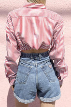 Fashion Stripe Crop Top Long Sleeve Blouse - lolabuy