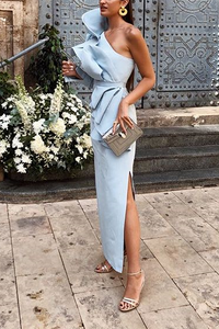 Fashion One Shoulder Belt Flouncing Maxi Dress - lolabuy