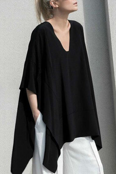 Fashion Loose Plain Irregular Blouse - lolabuy