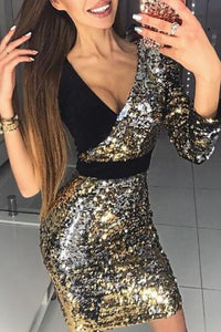 Deep V Sequined Fashion Bodycon Dress - lolabuy