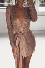 V-Neck Knit Nightclub Sexy Bodycon Mini Dress - lolabuy