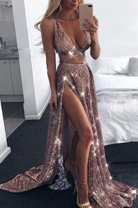 Sexy Deep V Split Gold Silk Sling Evening Dress - lolabuy