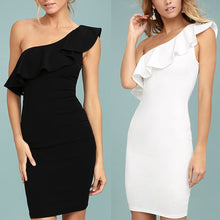 Sexy One Shoulder Plain Bodycon Dress - lolabuy