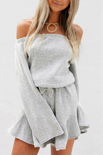 Sexy Plain Off Shoulder Long Sleeve Falbala Skater Dress - lolabuy