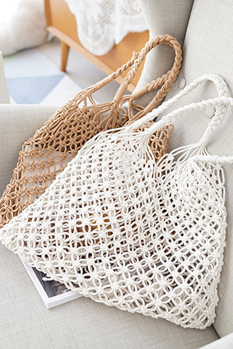Fashion Knitting Hollow Out One Shoulder Beach Handbag - lolabuy