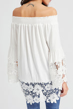 Fashion Cotton Lace Joint Off Shoulder Tops