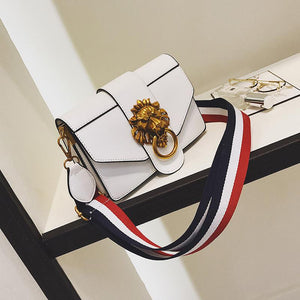 Wild Fashion Metal Lion Head Decoration Slanting Small Square Bag - lolabuy