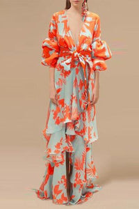 Sexy Deep V Neck Floral Printed Lantern Sleeve Maxi Dress - lolabuy