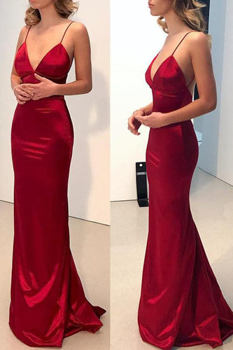 Sexy Red Plain Sleeveless Evening Dress - lolabuy
