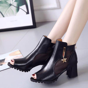 Fashion Fish Mouth Thick Heel Boots - lolabuy