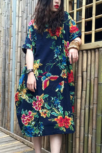 Fashion Floral Loose Round Neck Vacation Maxi Dress - lolabuy