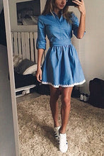 Fashion Plain Slim Long Sleeve Vneck Line Skater Dress - lolabuy