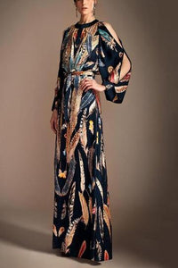Fashion Floral Printed Split Sleeve With Belt Maxi Dress - lolabuy