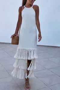 Sexy White Sleeveless Tassel Maxi Dress - lolabuy