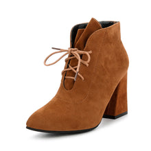 Fashion Solid Color High Heel Lace-Up Pointed Boots - lolabuy