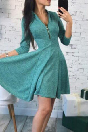 Sexy Plain Vneck Line Long Sleeve Skater Dress - lolabuy