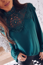 Sexy Plain Lace Long Sleeve Blouse