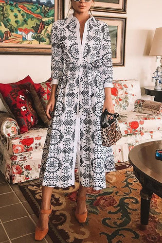 Sexy White Long Sleeves Floral Print Maxi Dress - lolabuy