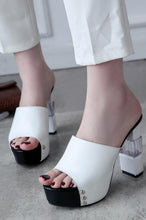 Sexy Color Block Peep-Toe Thick High Heel Sandals - lolabuy
