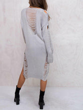 Fashion Plain Wool Long Sleeve Fork Long Sweater