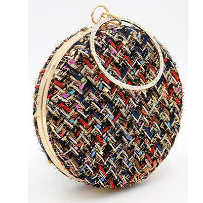 Fashion Color Block Round Hand Bag - lolabuy