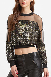 Sexy Sequined Mesh Stitching Long Sleeves - lolabuy