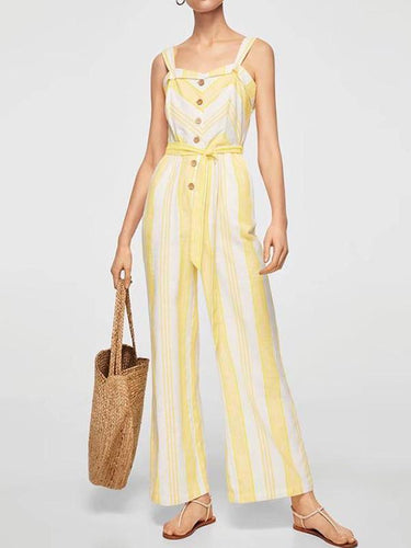 Cotton  Elegant Sleeveless Jumpsuit - lolabuy