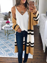 Fashion Temperament Slim Stripes Mid-Length Knitting Cardigan - lolabuy