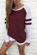 Fashion Color Block Round Neck Long Sleeve Top - lolabuy