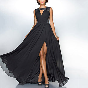 Sexy Black Sleeveless Chiffon Evening Dress - lolabuy
