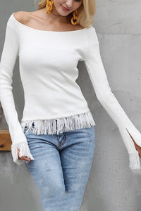 Sexy Off Shoulder Fringe Long Fork Sleeve T-Shirt