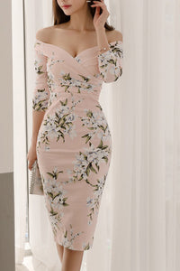 Sexy Floral Off Shoulder Long Sleeve Bodycon Dress - lolabuy