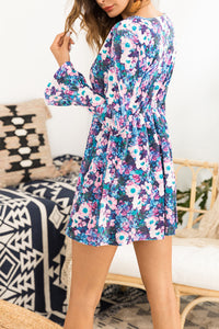Sexy Floral V Collar Long Falbala Sleeve Shift Dress